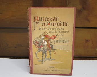 MEDIEVAL STORY BOOK, Old book,  Knights, Children's book, Storie book, Collectible, Aucassin et Nicolette, French book, illustrated book