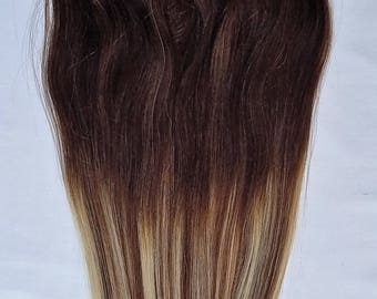 18inches 100% Ombre BALAYAGE Clip in Human Hair Extensions 7Pcs,14 clips # T2-6/613