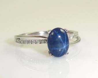 2.30 Carat Blue Star Sapphire And Diamond Ring in 14K White Gold (144590)