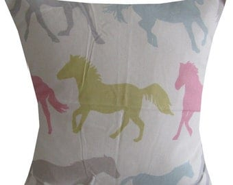 "Designer childrens pony pink green blue pastel horse cushion cover 16"" - 24"""
