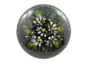 Vintage Russian Lacquer Brooch, Hand Painted, Signed, N45