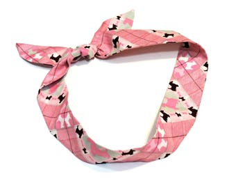 Summer Cooling Scarf, Gel Neck Cooler Bandana, Pink Scottie Plaid Stay COOL Tie Spa Wrap, Headband, Hairband iycbrand