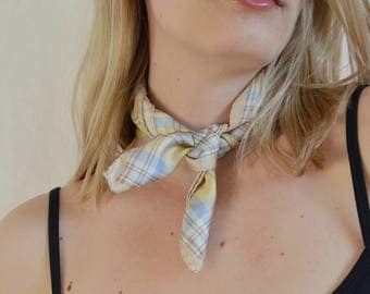 plaid muted yellow silk scarf / 1990s punk pastel neckerchief