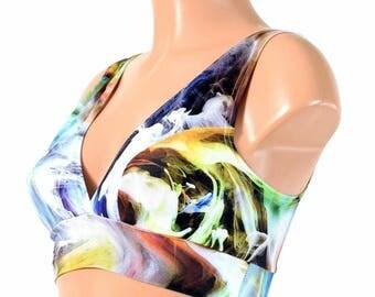 Swirling Smoke Starlette Bralette Spandex Rave Festival Clubwear 154623