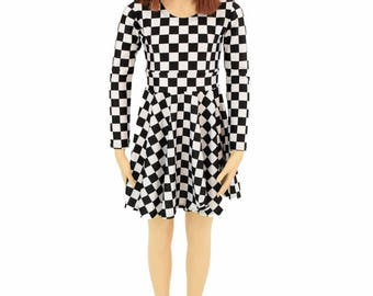 Toddlers and Girls Size 2T 3T 4T and 5-12 Black & White Check Print Long Sleeve Fit and Flare Skater Dress - 155046