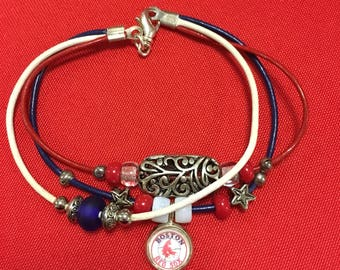Red white and blue Red Sox leather bracelet
