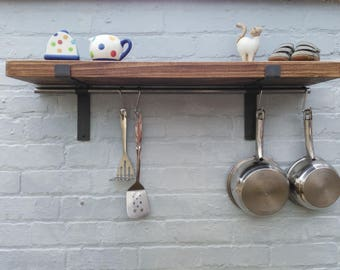 Kitchen shelve solid wood Shelf and brackets  (1 shelf) 22 cm deep pine shelving with pan hanging rod