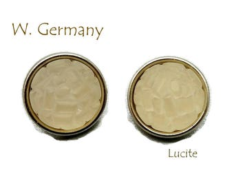 Lucite Button Earrings - Vintage West Germany Gumdrop Earrings, Frosted Clip-ons, Gift for Her, Gift Box, FREE SHIPPING