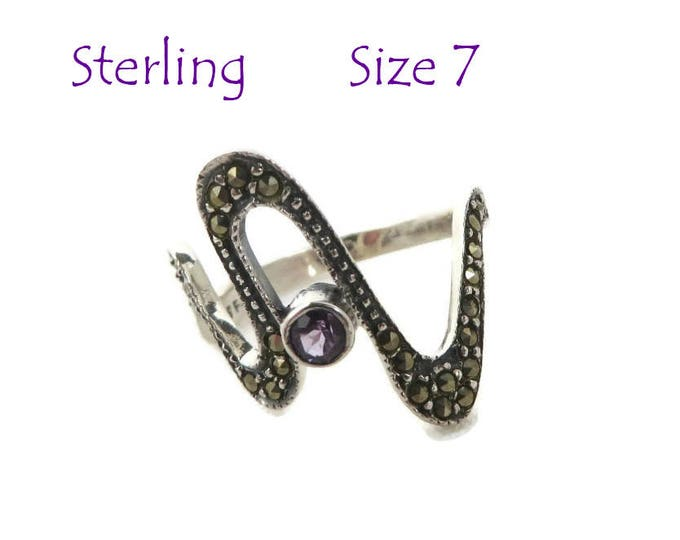 Sterling Silver Abstract Ring - Vintage Amethyst, Marcasite Ring, Signed Designer Ring, Size 7, Gift Box, Perfect Gift, FREE SHIPPING