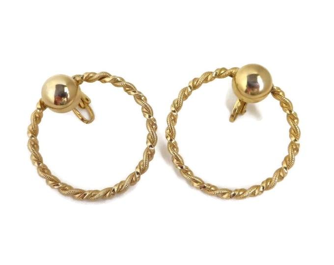 Vintage Twisted Hoop Earrings, Gold Tone Large Hoop Clip-ons