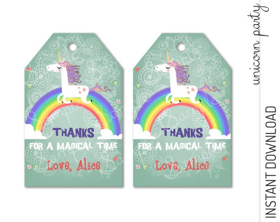 Unicorn Favor Tag INSTANT DOWNLOAD