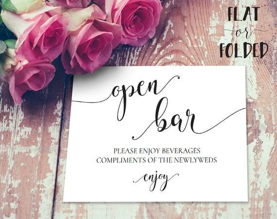 Open Bar Wedding Sign INSTANT DOWNLOAD