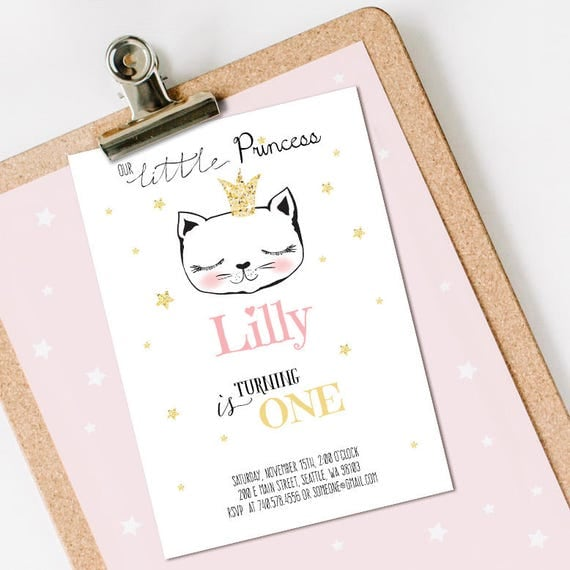 Little Princess Birthday Invitation INSTANT DOWNLOAD