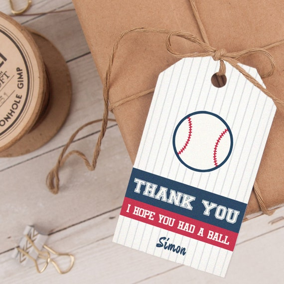 Baseball Favor Tag, Baseball Thank You Tag, Baseball Party Favor INSTANT DOWNLOAD you personalize at home