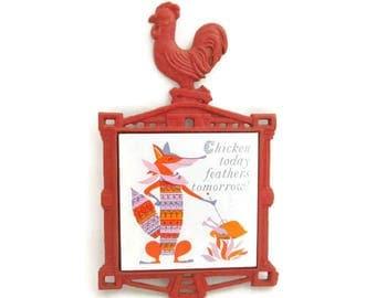 1950s Era Trivet - Red Kitchen Rooster - Foxy Tile