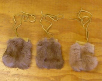 3 Tan Rabbit Fur & Gold Color Deer Leather Bags