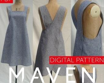 The Maria Wrap Apron PDF sewing pattern, Japanese apron, DIGITAL DOWNLOAD, womens pattern, apron pattern, pdf pattern, sewing pattern, apron