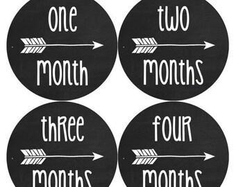 NEW Monthly Baby Sticker Month Stickers Monthly Baby Stickers Tribal Baby Month Stickers Arrows Milestone Stickers Photo 1062