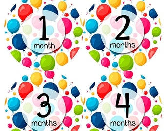 Monthly Baby Sticker Baby Boy | Baby Girl | Baby Month Stickers | Baby Milestone Sticker | 12 Month Stickers | Photo Prop | Balloons 1155