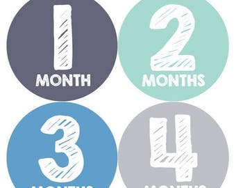 Baby Month Stickers, Baby Boy Gift, Milestone Stickers, Monthly Sticker, Monthly Baby Boy Stickers, Baby Month Milestone Stickers 015