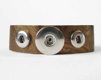 Bronze Printed Leather Snap Charm Combo Bracelet Fits 18-20mm Ginger Snaps, Noosa, Magnolia & Vine, Others