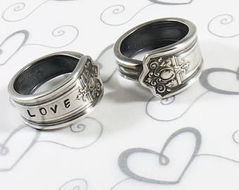 Custom Hand Stamped Spoon Ring - Love - Vintage Spoon Ring - Personalized