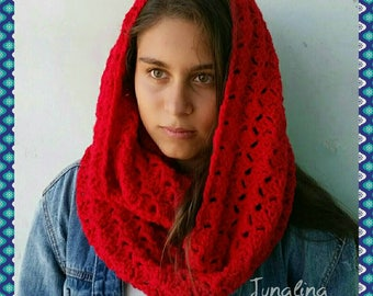 Red INFINITY Scarf/ Crochet Scarf/ Oversized Infinity Scarf/ Red Scarf