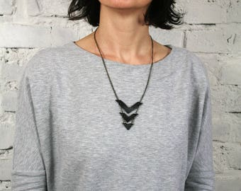 Upcycled inner tube minimalist necklace JUBA. Black recycled necklace. Black eco-friendly jewelry for eco-conscious women. Original gift.