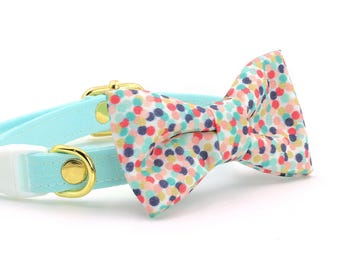 Rainbow Confetti Cat Collar + Bow Tie Set with Breakaway Safety Buckle - Kitten Size Available