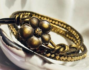 Bronze Wrap Bracelet, Metallic Bronze Wrap Bracelet, Dark Gold Bracelet, Gift for Her