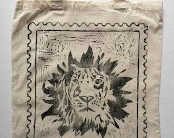 Shiki The Lion (Black) Handprinted Tote Bag