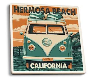 Hermosa Beach, CA - VW Van - LP Artwork (Set of 4 Ceramic Coasters)