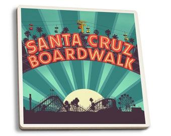 Santa Cruz CA Boardwalk Sign at Night - LP Artwork (Set of 4 Ceramic Coasters)