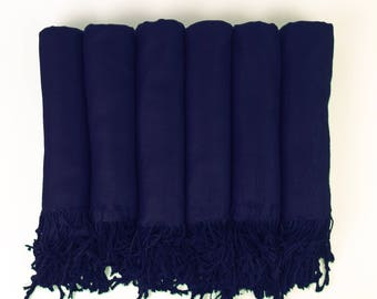 Pashmina Shawl NAVY Blue Bridesmaid Gift, Wedding Favor, Bridal party gift - Monogrammable