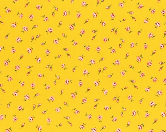 Lecien Old New 30's 2017 Japanese Fruit & Flowers Pattern 31526 50 Rosebuds Roses Yellow