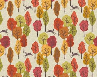 Autumn in Bluebell Wood A250-1 Leaping Deer Dark Cream Lewis & Irene Patchwork Quilting Fabric