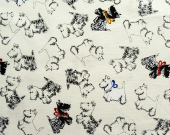 Jane Makower Inprint Cream Scottie Dogs Patchwork Quilting Sewing Dressmaking Fabric