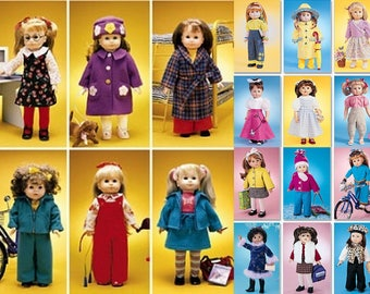 "Doll Clothes Wardrobe 24 Outfits 4 McCall's Crafts Sewing Patterns M2506 M3040 M3474 M4066 18"" Doll Clothing for Gotz American Girl Justice"