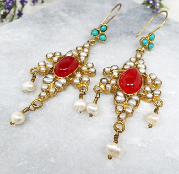 Vintage / Victorian Style Gold Pearl Turquoise Statement Hook Drop Earrings