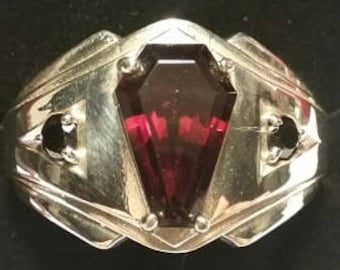 Coffin Gem - 3ct MENS Accent Coffin Ring