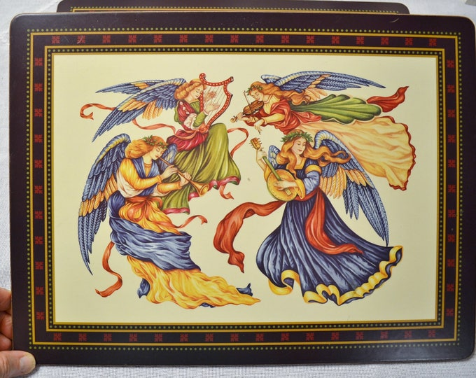 Vintage Pimpernel Placemat  Set of 10 Angels Musical Instruments Christmas Holiday Theme Panchosporch