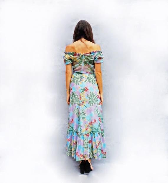 Boho Maxi Dress, Vintage Maxi Dress, 70s Floral Dress, Bardot Dress, Off The Shoulder Dress, Hippie Dress, Wedding Guest Dress, Long Dress