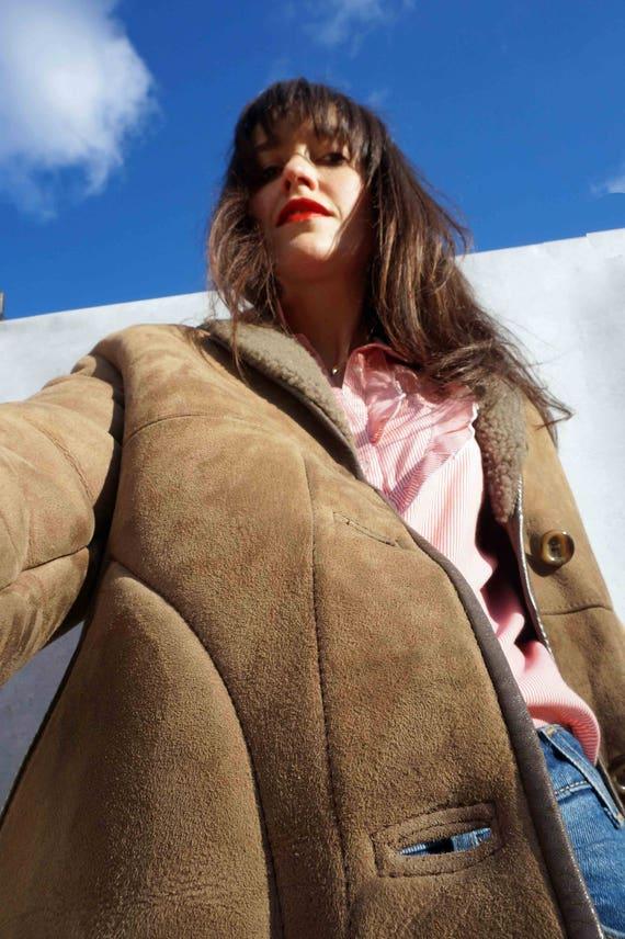 Leather Sheepskin Coat, Vintage 70s Leather Shearling Coat, Warm Winter Coat, Long Leather Coat, English Sheepskin Coat, Boho Shearling Coat
