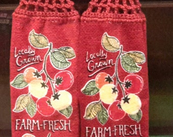 2 crocheted top kitchen towe/farm fresh