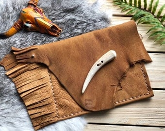 Rustic Leather Fringe Clutch, Pouch, Festival Bag, Antler Shed, Earthy, Boho, Bohemian, Burning Man, Fringe Bag, Gypsy Wear, Hand Stitched