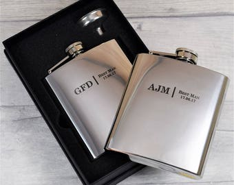 Personalised Laser-Engraved Wedding Hip Flasks, Best Man, Groom, Usher Wedding Gifts, Silver Hip Flasks Best, Gift Box with Funnel Available