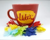 ORIGINAL Luke's Diner Mug | Big Mug | Lukes mug | Lukes Diner | Gilmore Girls | Inspired | VINYL decal logo BOTH sides | Stoneware