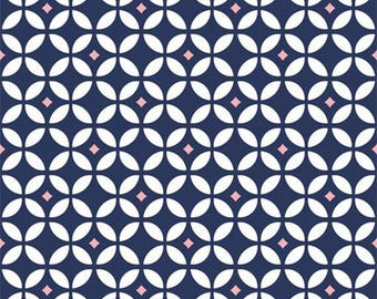 BABY BOUTIQUE - Diamond Geometric in Carnation Pink / Navy Blue - Cotton Quilt Fabric - Studio 8 for Quilting Treasures - 23964-NP (W4033)