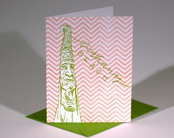 Bethany Beach Delaware Letterpress Card | Totem Pole | green & coral single blank card with envelope