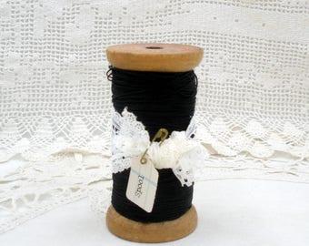 Vintage Large Wooden Spool With Black String